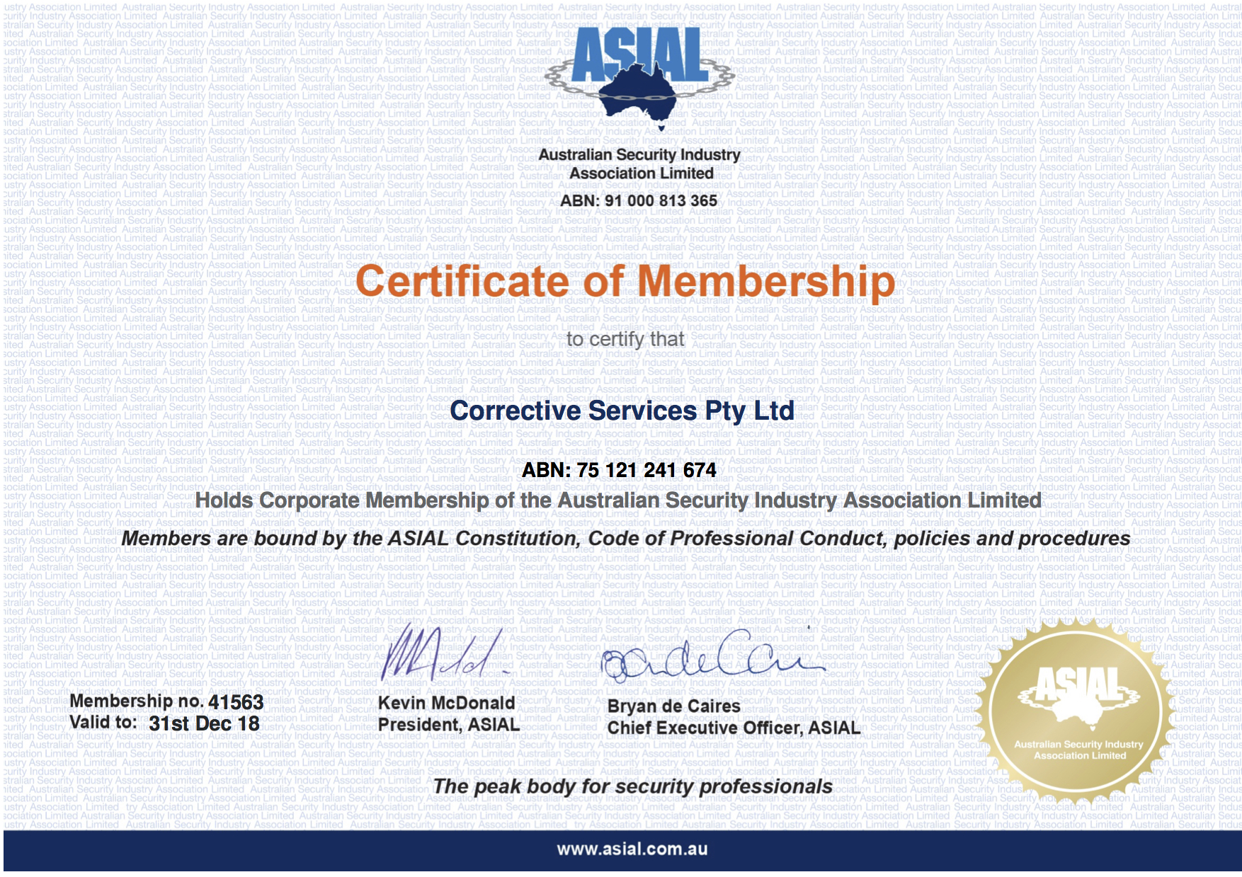 ASIAL Membership 2018 Security Guards Melbourne
